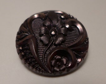 Czech glass button - pinkish brown  - 27 mm