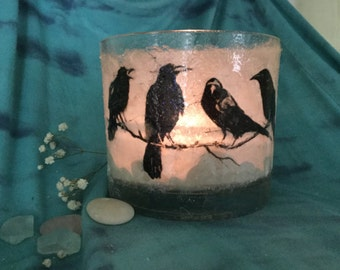 Raven candle aromatherapy spa beach romantic gothic Spiritual white stones glass