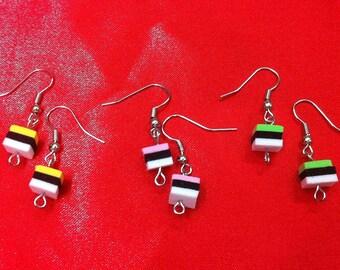 Liquorice allsorts earrings