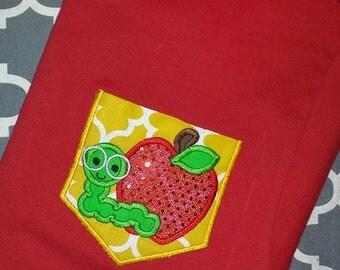 Teacher Pocket Tee Shirt Apple with worm