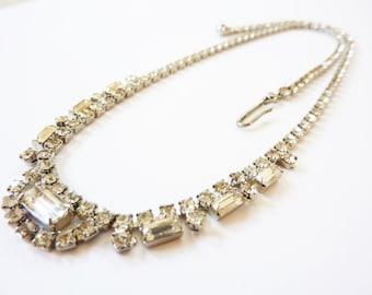 Vintage 1940s Rhinestone Baguette Necklace