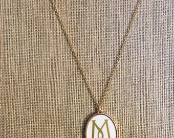 White enamel monogrammed pendant necklace