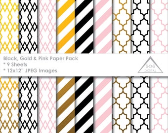 Black, Pink and Gold Digital Papers, Black, White, Pink, stripes, quatrefoil, lattice, small commercial use, jpeg files, foil paper pattern
