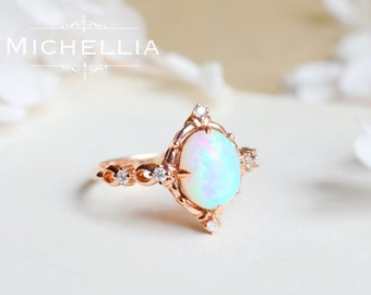 14K/18K Victorian Opal Ring, Vintage Inspired Ethiopian Fire Opal Engagement Ring, Solid Gold Rose Gold Opal Ring with Diamond, Gift for Her