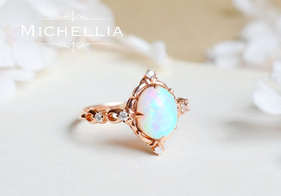 14K/18K Victorian Opal Ring Vintage Inspired Ethiopian Fire