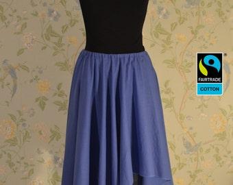 Fairtrade skirt blue, asymmetric with lappet; fair vegan organic