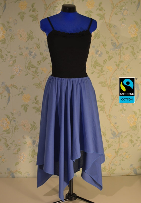 Fairtrade skirt blue, asymmetric with lappet; fair vegan organic