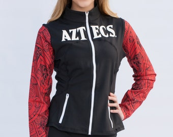 San Diego State Aztecs Women's Full Zip-Up Yoga Track Jersey Jacket (Black)
