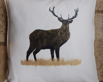 Hand Painted Buck Pillow - Off-White