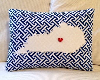 Kentucky State Pillow, State Pillow, Personalized gift, Blue and White Canvas, 12x16 pillow insert