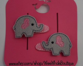 Gray Elephant Hair Clips, Set of 2, Right and Left