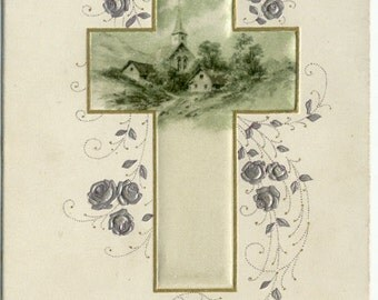 Easter Cross CHURCH Silver Roses Printed in Bavaria EARLY 1900's POSTCARD Antique Post Card