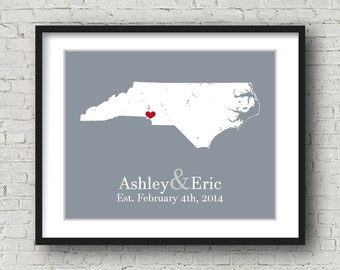 North Carolina Art North Carolina Wall Art North Carolina Home Wedding Gifts For The Bride Anniversary Gifts For The Bride Birthday Gifts