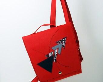 Backpack, red alcantara, adjustable straps, unique piece