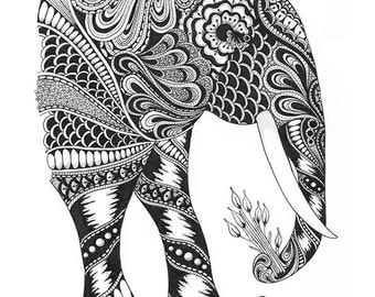 A4 print of original hand-drawn elephant