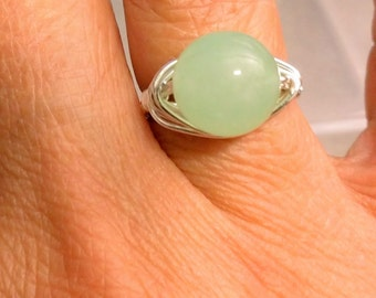 light green Aventurine ring