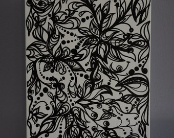 8in x 10in One-of-a-Kind Doodle Painting on Heavy Duty Canvas
