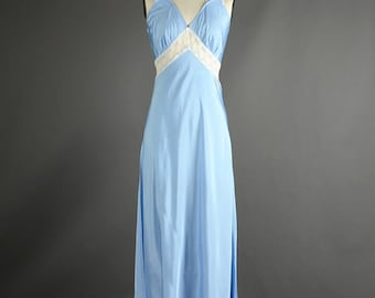 Vintage 1950s Baby Blue Lace Slip Dress