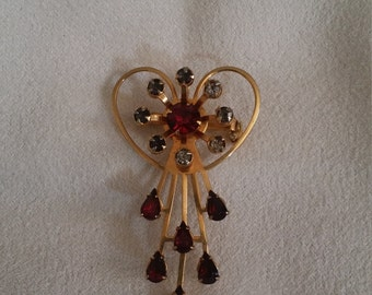 Gold Tone Heart Brooch and/or Pendant w/ ruby like rhinestones