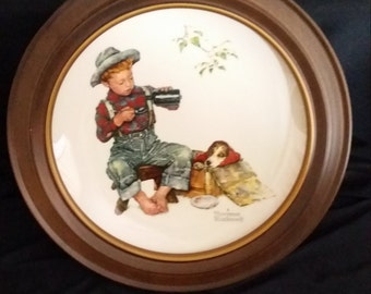 Norman Rockwell Collector Plate - Gorham Fine China - 1971 Limited Edition - Summer - with Vintage Bard Wood Frame