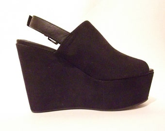 90s Black Platform Wedges