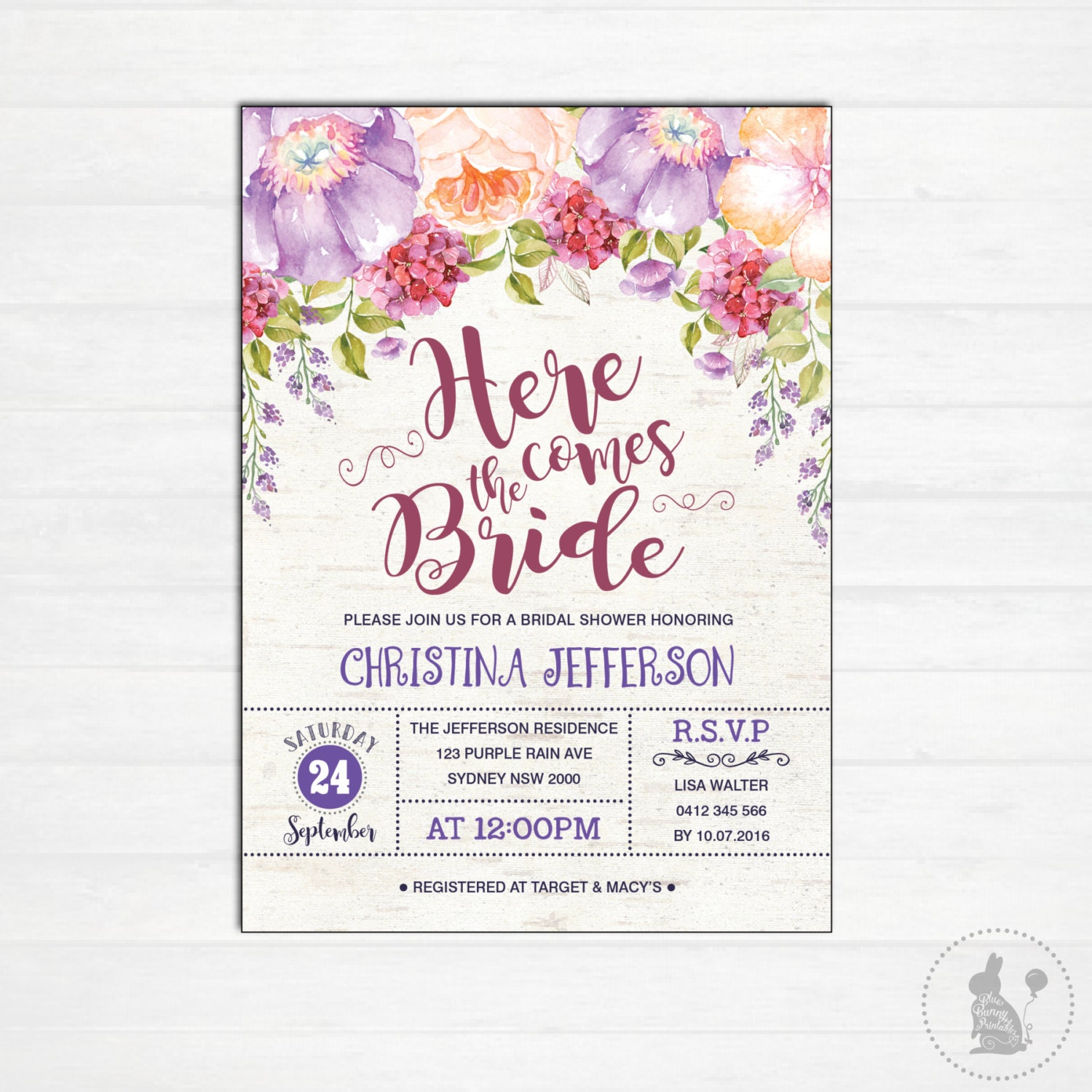 Purple Flower Bridal Shower Invitation : Floral bridal shower invitation purple flowers vintage