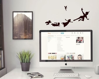 Peter Pan Wall Decal   Laptop Decal   Gold Wall Decal Neverland Wendy  Captain Hook Lost Part 73