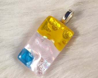 Pink, Yellow, and Blue Dichroic Fused Glass Pendant