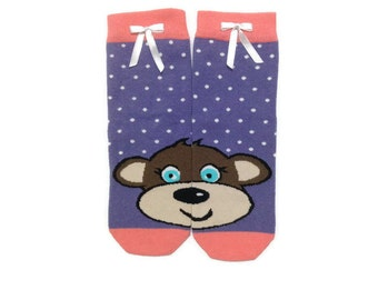 Monkey Socks, Animal Socks, Cute Socks, Fun Funny Socks, Women Socks, Fashion Ankle Socks, Casual Cotton Socks, Leg Warmer, Gift For Her