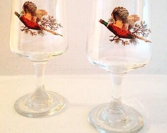 Pheasant aperitif or port/sherry Pedestal Glasses with Gold Trim, Dema Glassware