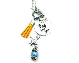 "Itty Bitty Living Space Genie Aladdin Inspired Glass Beaded Tassel Charm 26"" Chain Necklace Silver Tone"