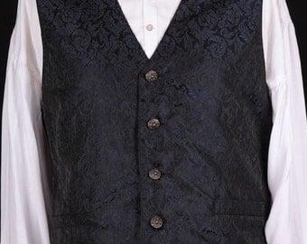 Brocade WaistCoat / Vest - Midnight Blue