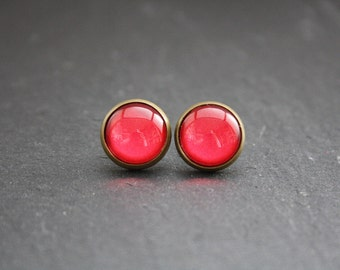 "Cabochon earrings ""Dark red"" 12 mm"