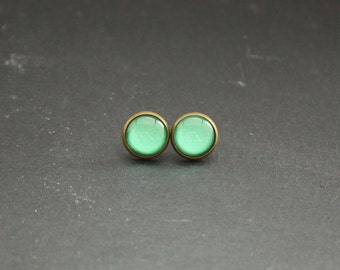 "Cabochon earrings ""Light green"" 12 mm"