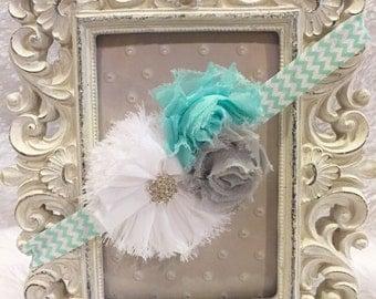 Tiffany blue and grey  headband