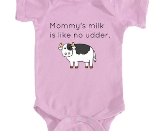 like no udder baby onesie- breastfeeding baby