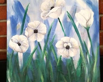 White Poppy Field Canvas
