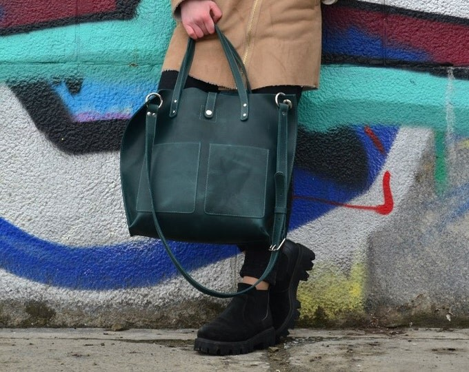 Leather shopper bag Emerald Tote bag Leather Handbag Large tote bag Green leather tote Tote bag with pockets Gift for her Gift for woman