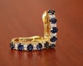Diamond 18K Yellow Gold Genuine Blue Sapphire Earrings [E0078]