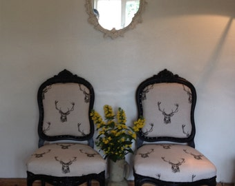 Upcycled Unique Antique Victorian Mourning Chairs