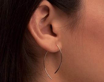 Minimalist Earrings, Open Hoop Earrings, Line Earrings, Gold Earrings, Almond Shape, Leaf Shape, Minimal Earrings, Minimalist Gold Jewelry