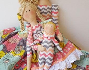 Custom order for you Mother doll with little Boy/girl and baby dolls, Handmade Tilda Dolls, Family dolls, Christmas gift, Keepsake dolls,USA