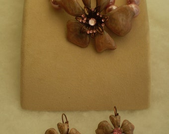 Vintage Cloisinne Bracelet and Drop Earring Set