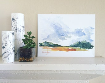 "Original Watercolor Landscape Painting - 12"" x 16"""