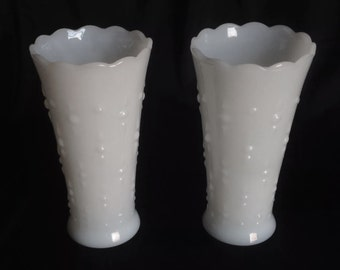 """Set of 2 White 7"""" Vases - Vintage White Milk Glass, Scalloped, with Teardrop & Pearl Hobnail by Anchor Hocking"""
