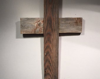 Rustic Repurposed Barn Wood Cross Wall Decoration