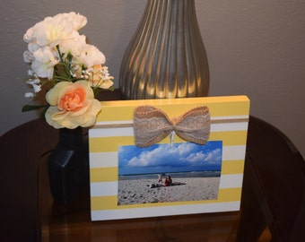 Burlap & Lace Bow Clip Frame - Yellow and White Stripe
