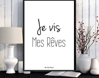 Inspirational french quote poster, Feel good art, Happy art, Positive quote wall, French quote print, Printable wall poster, Wall art print
