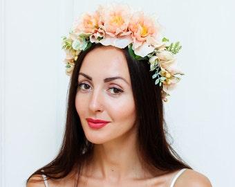 Peach flower crown Bridal floral crown Flower headband Peony flower crown Flower hair wreath Flower girl wreath Bridesmaid floral crown
