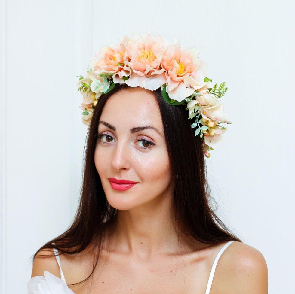 Wedding Flower Crown Suppliers : Peach flower crown bridal floral headband peony